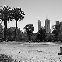 Sky scrapers in Melbourne, Australia. A view of Melbourne City on the hottest day ever for the capital city in Victoria, Australia. A dust storm can be seen brewing on the left of the frame.