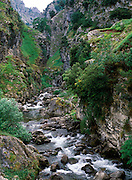 SPAIN, NORTH COAST, ASTURIAS Picos de Europe National Park and the Gorge of the Rio Cares with a popular hiking trail near Cangas de Onis