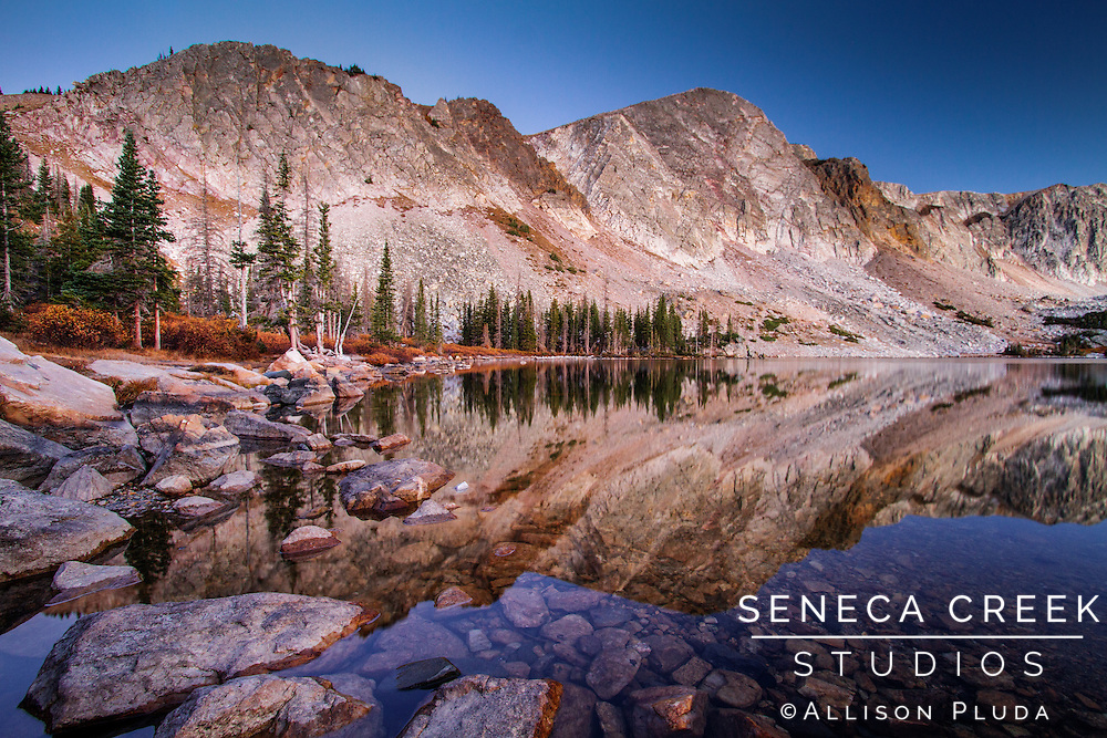 Lake Marie is one of my favorite places to photograph the sunrise. I hiked into this spot the night before under a full moon and caught the soft colors reflected in the lake at 10,000 feet before the morning wind picks up and distorts the reflections.