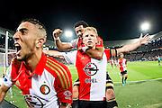 ROTTERDAM - Feyenoord - FC Utrecht , Voetbal , Seizoen 2015/2016 , Eredivisie , Stadion de Kuip , 08-08-2015 , Speler van Feyenoord Dirk Kuyt (m) scoort de 3-1 uit een penalty en viert dit met Bilal Basaçikoglu (l) en Tonny Vilhena (achter)