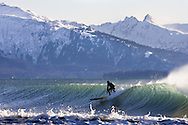 Alaskan surfer Mike McCune riding a wave during a cold winter surf session in Homer, Alaska. The snowy Kenai mountain range rises from Kachemak Bay in the background.