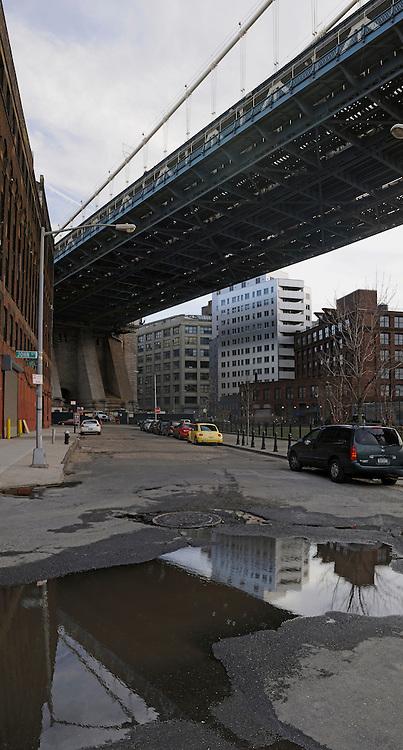 View to Brooklyn under Manhattan Bridge.