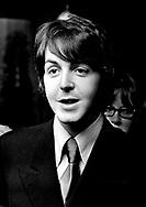 Beatles 1968 Paul McCartney at a press conference at the Royal Garden Hotel, London to publicise the Leicester Arts Festival
