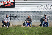 'The 3 amigos'  is what Dave, Blue and Joe call themselves. Unemployed, they having a beer outside a general store. Since October 2011 Michigan law will stop all benefits for people who have been unemployed for over 2 years, increasing the problems these people already have. Detroit, USA, 2011
