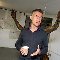 UK. London. For a story on how empty commercial properties are being used by artists and galleries. .Simon Tarrant, artist and manager of The Queen's Elm Artists on Fulham Road, Chelsea. The Gallery was a former public house, The Queen's Elm, a famous watering-hole of Francis Bacon and Laurie Lee. .Photo©Steve Forrest