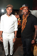 October 27, 2012-New York, NY: Recording Artists BlackStar- (L-R) Mos Def aka Yasiin Bey and Talib Kweli backstage at House of Blues on October 27, 2012 in Atlantic City, New Jersey. Black Star arose from the underground movement of the late 1990s, which was in large part due to Rawkus Records, an independent record label stationed in New York City. They released one album, Mos Def & Talib Kweli Are Black Star on August 26, 1998. (Terrence Jennings)
