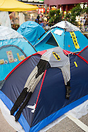 A Batman suit draped over a tent on Nathan Rd. Protesters known as the Umbrella Revolution or Occupy Mongkok, an extension of the larger Occupy Central movement, have taken over a number of blocks on the busy road and staged an ongoing demonstration calling for universal suffrage for Hong Kong.