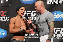 Toronto, Ontario, Canada - September 21, 2012: Joseph Benavidez talks to Joe Rogan at the weigh in for his fight against Demetrius Johnson at the UFC 152 weigh-ins at the Mattamy Athletic Centre at The Gardens in Toronto, Ontario, Canada.  The two will meet for the first-ever UFC Flyweight Championship.
