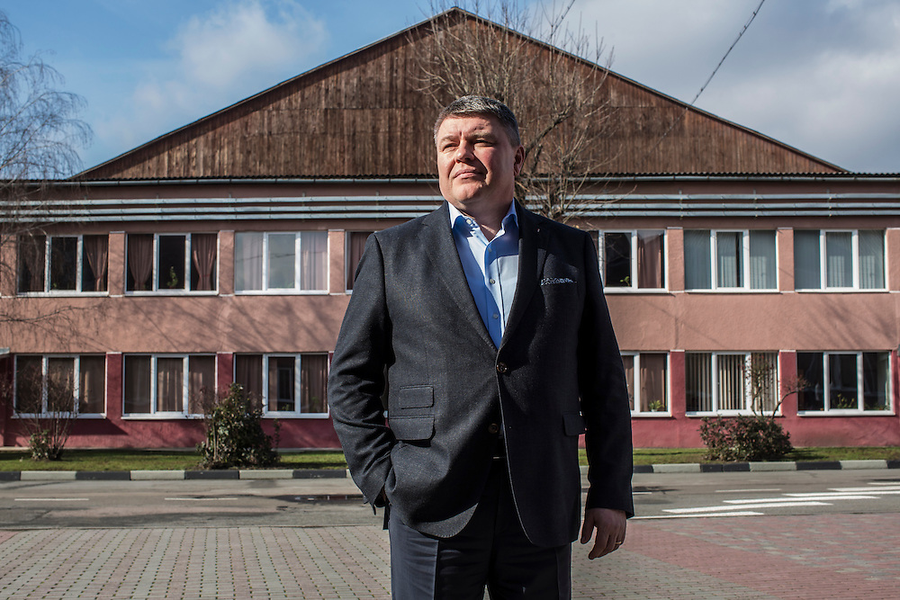 MUKACHEVO, UKRAINE - FEBRUARY 25, 2016: Vasyl Ryabych, general director of the Fischer-Mukachevo factory, poses for a portrait at the factory in Mukachevo, Ukraine. The plant fabricates skis as well as hockey sticks, many of which are produced for export. CREDIT: Brendan Hoffman for The New York Times