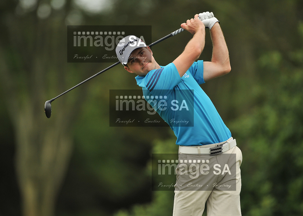 MALELANE, SOUTH AFRICA - Wednesday 18 February 2015, Scott Gibson of Scotland tees off on the 4th during the first round foursomes of the annual Leopard Trophy, a two day test between teams of the South African Golf Association and the Scottish Golf Union, at the Leopard Creek Golf Estate.<br /> Photo Roger Sedres/ Image SA