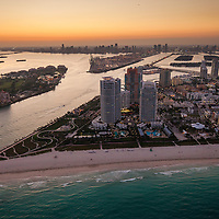 Aerial of Miami Beach, South Point and the entrance to  Government Cut and the Port of Miami