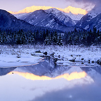 Bull River & the Cabinet Mountains in winter. Bull River Valley, northwest Montana.
