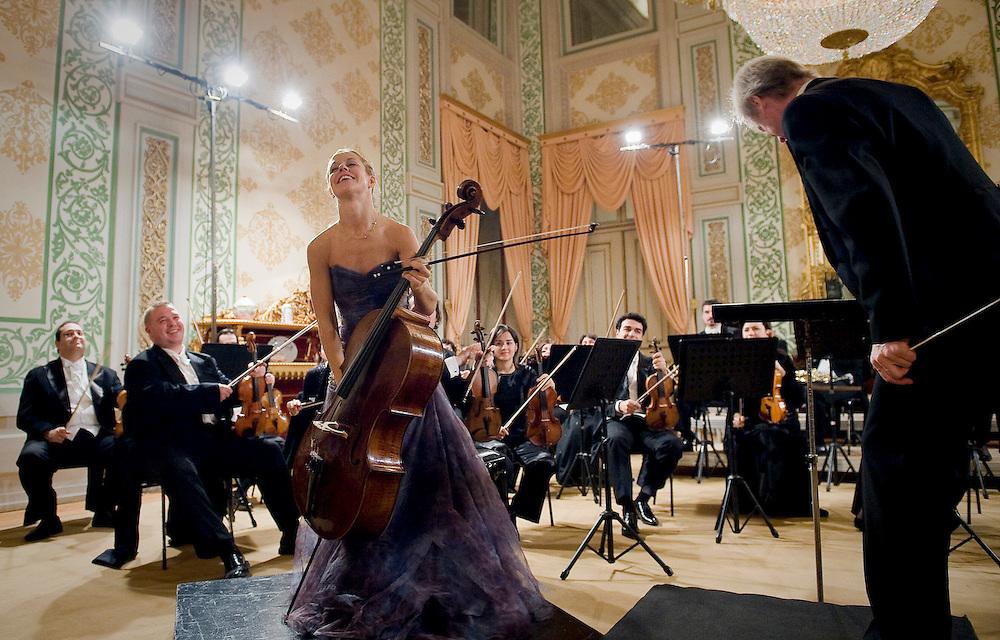Cello Player bows at a concert in Lisbon Natioal Palace of Ajuda , Lisbon 2008