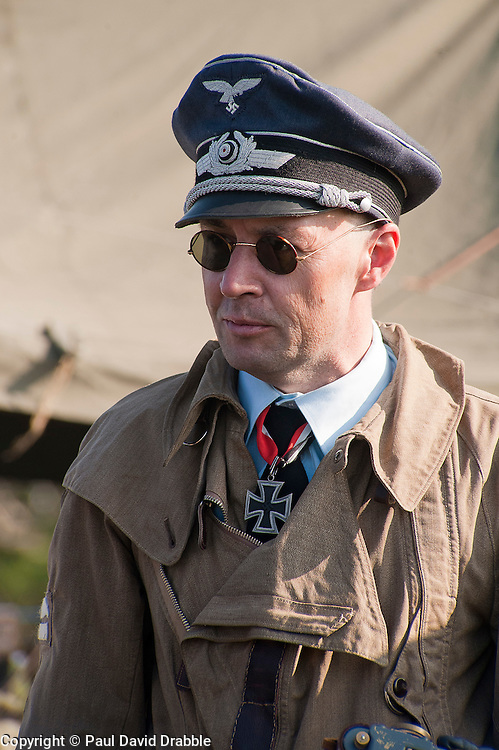 A reenactor portrays a member of German Luftwaffe aircrew during the Pickering 1940s Wartime Weekend. <br /> October 2011<br /> Image &copy; Paul David Drabble