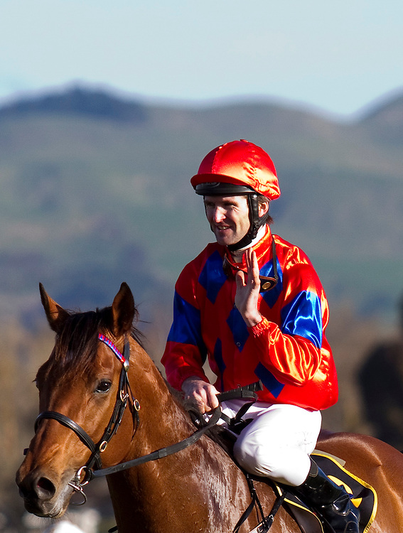 Jonathan Riddell riding Jimmy Choux returns to scale after winning the Windsor Park Plate, Hastings, New Zealand, Saturday September 17, 2011.  Credit: SNPA / Bethelle McFedries