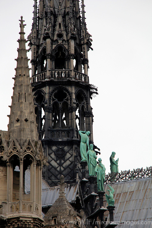 Europe, France, Paris. Steeples of Notre-Dame Cathedral.