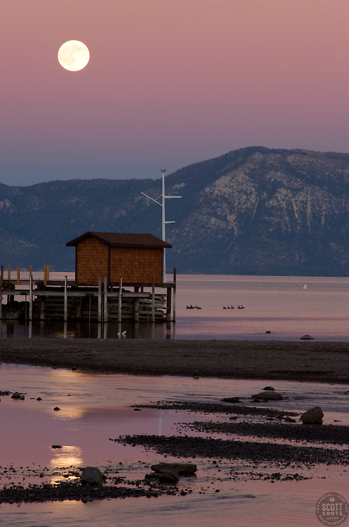 """Full Moon Over Lake Tahoe 2""- This full moon was photographed near Commons Beach, Lake Tahoe."