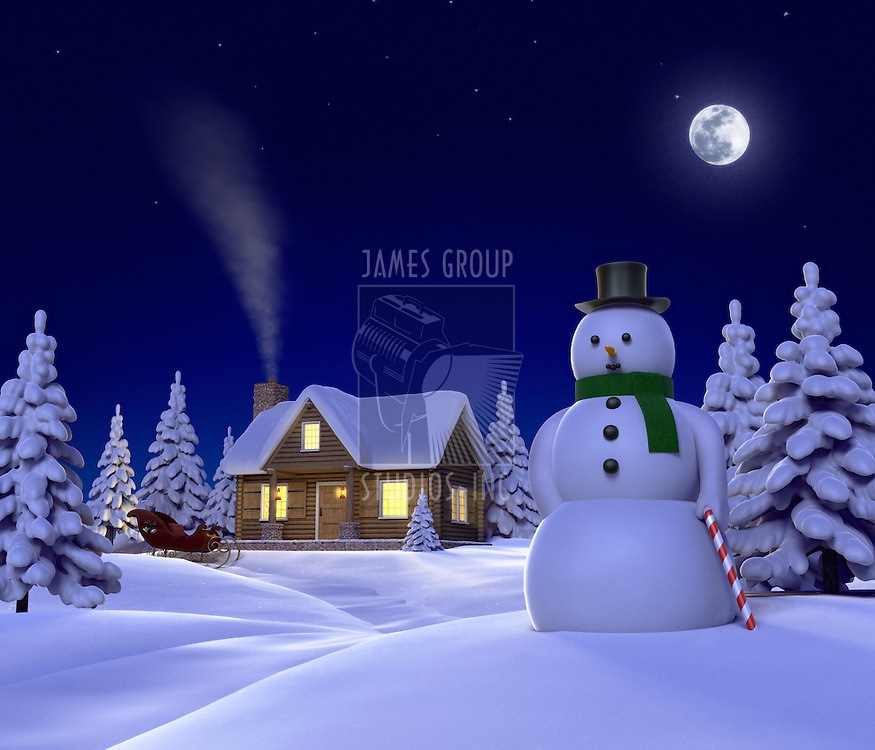A christmas themed snow .cene showing Snowman, Cabin and snow sleigh at night