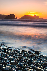 """""""Plaskett Rock at Sunset 1"""" - Photograph at sunset of Plaskett Rock and other rocks along the Pacific Ocean shoreline in the Big Sur area of California."""