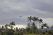Russian aircraft flying over palm trees near La Union, Pinar del Rio, Cuba.