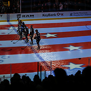 SHOT 2/25/17 8:59:28 PM - The Colorado Avalanche's top line stands for the National Anthem before their NHL regular season game against the Buffalo Sabres at the Pepsi Center in Denver, Co. The Avalanche won the game 5-3. (Photo by Marc Piscotty / © 2017)