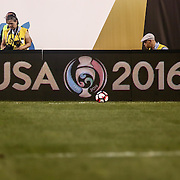 A ball sit near the Copa America Centenario logo during a Copa America Centenario Group A match between the United States and Paraguay Saturday, June. 11, 2016 at Lincoln Financial Field in Philadelphia, PA.