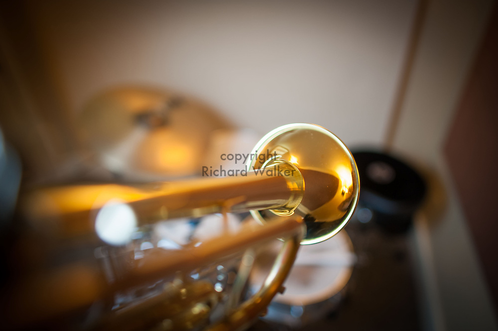 2015 August 15 - Trumpet with drumset in background, Seattle, WA, USA. By Richard Walker