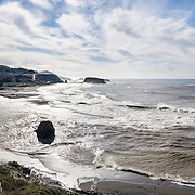 The Russian River drains Sonoma and Mendocino counties  in Northern California, USA and flows into the Pacific Ocean at Russian River State Marine Conservation area and Sonoma Coast State Park near Jenner. The panorama was stitched from 3 overlapping photos.