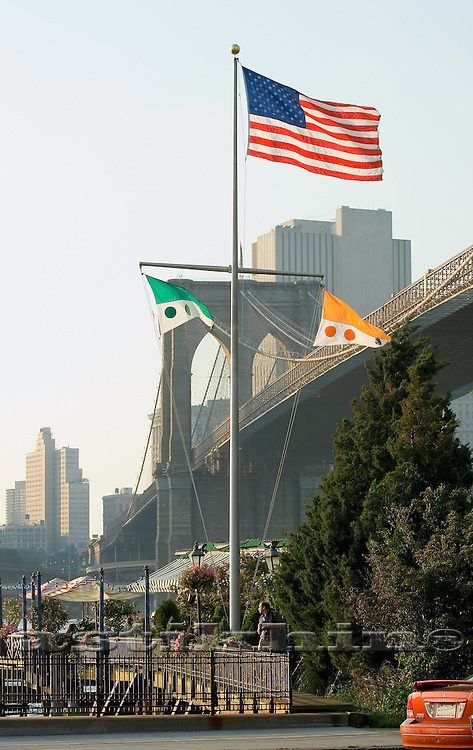 Flag of USA and Brooklyn Bridge