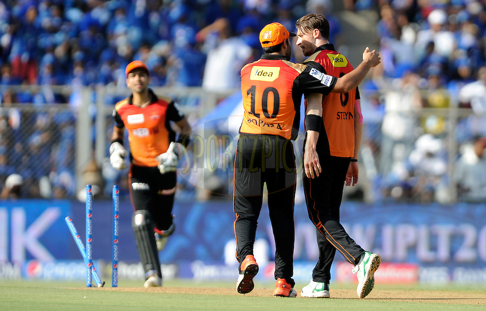 Dale Steyn of Sunrisers Hyderabad celebrates the wicket of Lendl simmons of Mumbai Indians during match 23 of the Pepsi IPL 2015 (Indian Premier League) between The Mumbai Indians and The Sunrisers Hyferabad held at the Wankhede Stadium in Mumbai India on the 25th April 2015.<br /> <br /> Photo by:  Pal Pillai / SPORTZPICS / IPL