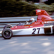American driver Mario Andretti handles his Parnelli-Ford during the training sessions of the 1975 Spanish Grand Prix