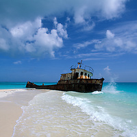 Shipwreck at white sand beach, Williams Town Beach, Little Exuma, Bahamas