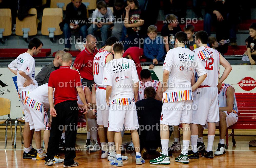 Team of Slovan during basketball match between KK Geoplin Slovan and KK Union Olimpija in 4th Round of Telemach Slovenian Champions League, on April 6, 2011, in Sports Arena Kodeljevo, Ljubljana, Slovenia.  (Photo by Vid Ponikvar / Sportida)