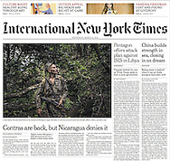 "THE NEW YORK TIMES ""Ortega vs. the Contras: Nicaragua Endures an '80s Revival"" by Frances Robles. A1. March 9, 2016"