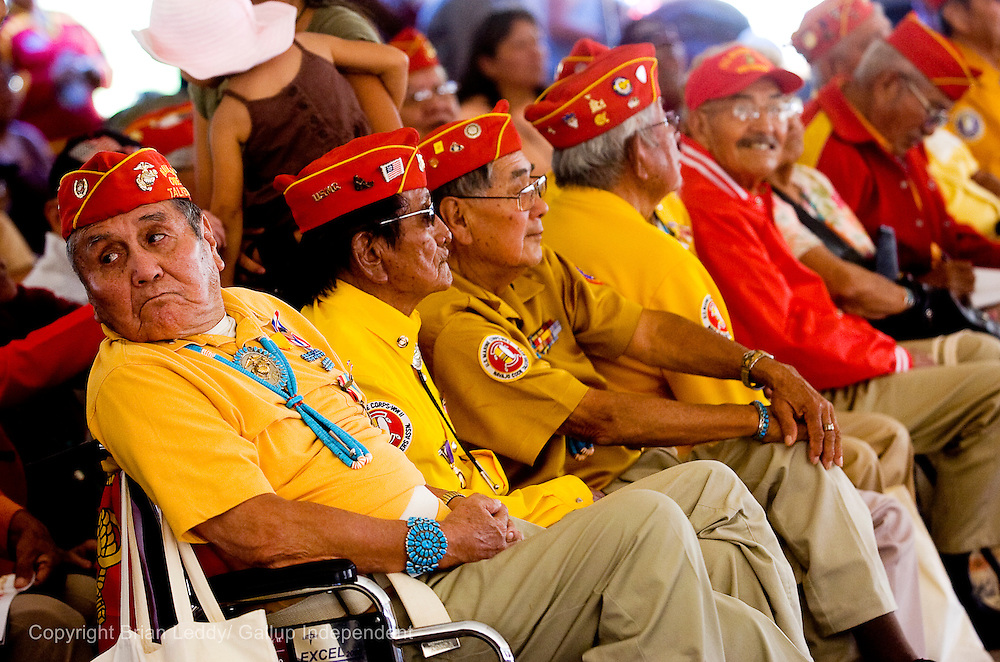 081408      Brian Leddy.Bennie Crosby and other Navajo Code Talkers wait for services to start at the Navajo Code Talker Day festivities in Window Rock.