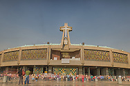 The new Basilica de Guadalupe is a site to behold. It's modern style is a stark contrast to the old one sitting across the plaza. 12 million followers visit the Basilica every year. It holds services everyday.