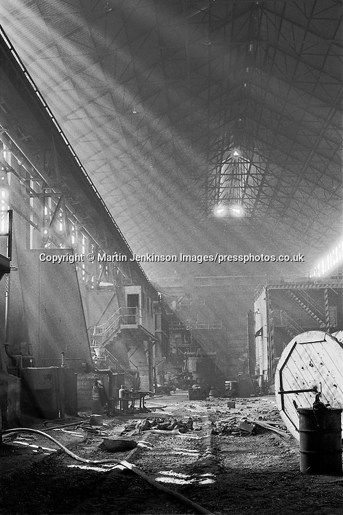 Derelict melting shop at Hadfields Leeds Road Works, formerly Brown Bayleys Steels which is now the site of Don Valley Stadium. <br />