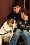 Couple, English Bulldog, Miles City Bucking Horse Sale Parade, Montana