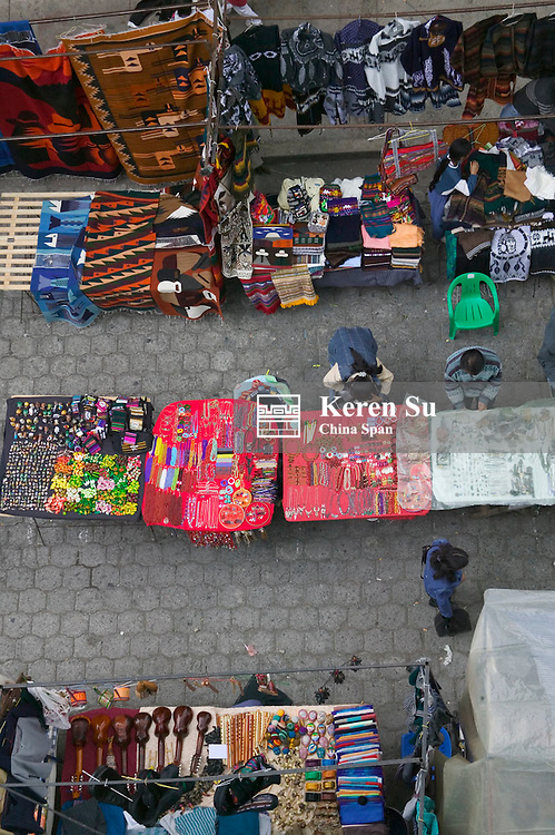 Colorful booths at Otavalo market, Ecuador