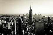 View of the Empire State Building from the top of the Rockefeller Center at sunset, New York, 2008.