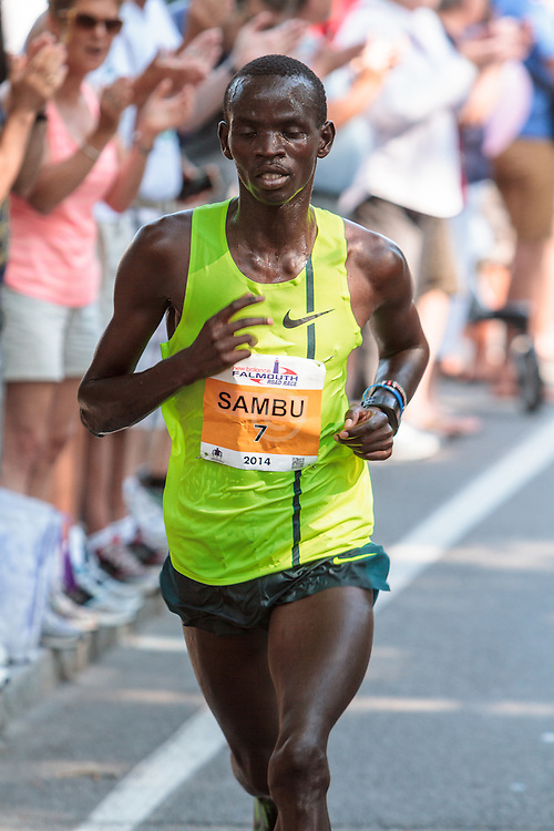Falmouth Road Race Stephen Sambu on way to victory, one mile to go