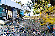 Remains of victim's belongings  inside the factory