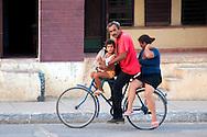 Family on a bicycle in Niquero,  Granma, Cuba.