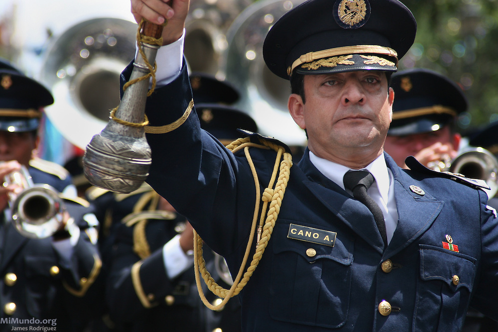 Members of the military band march through Guatemala City's central park during the 136th annual Military Day parade. Guatemala City, Guatemala. June 30, 2007.