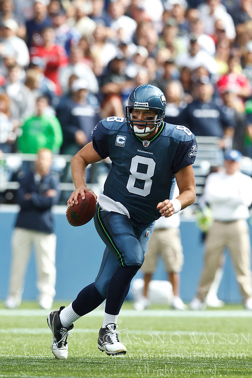 September 12, 2010; Seattle, WA, USA;  Seattle Seahawks quarterback Matt Hasselbeck (8) scrambles out of the pocket against the San Francisco 49ers during the third quarter at Qwest Field. Seattle defeated San Francisco 31-6.