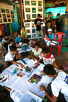 Cambodian Childrens Painting Project, a local NGO that tries to get Cambodian kids off the streets and beaches selling trinkets to tourists and back to school.  First and foremost, the project tries to get the kids to express their creativity by painting, teaches them English, sends them to the local school and helps support their families if necessary.