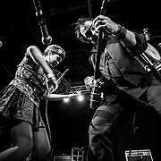 VIRGINIA BEACH, VA - FEB 15:  Dada Gauche, left, accompanies Phillip Roebuck on stage during his album release party at The Jewish Mother on Saturday, Feb. 15, 2014 in Virginia Beach, Va. (Photo by Jay Westcott/Zuma Press)