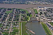 Mississippi River, Industrial Canal Lock, and Lower Ninth Ward (L), New Orleans, Louisiana, USA