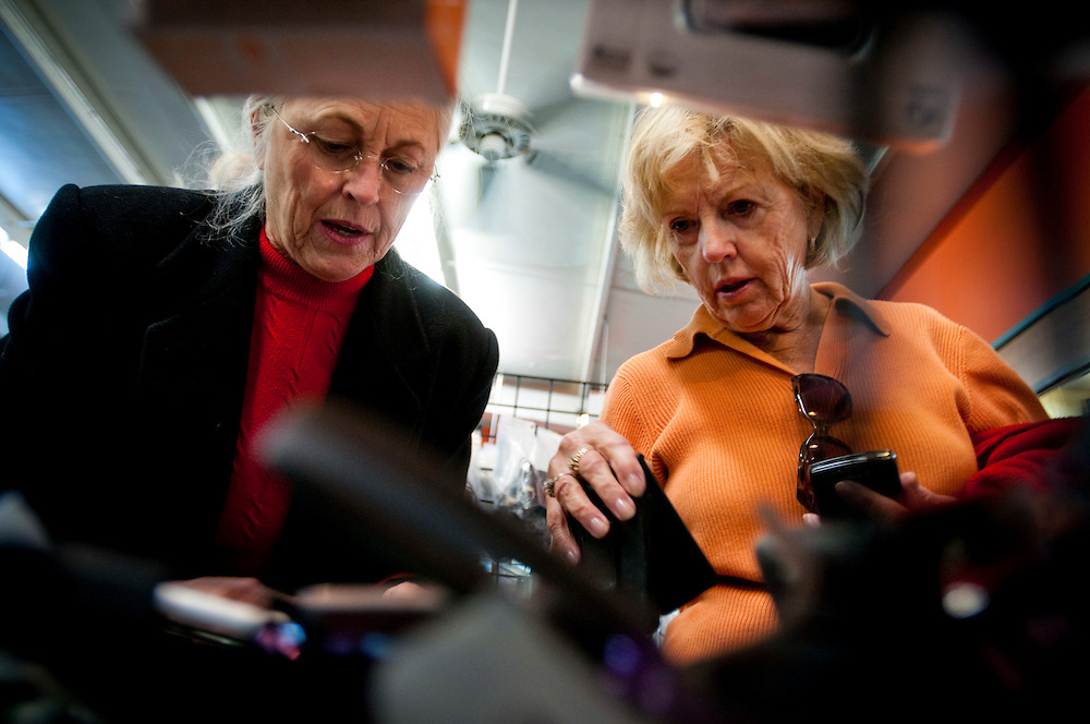 Pat West, 66 and Bonnie Seaburn, 68 shopping for a cell phone case...The Unclaimed Baggage Center is a retail store located in Scottsboro in Jackson County, Alabama. The store's concept is the reselling of lost or unclaimed airline luggage. Over a million customers visit the 50,000-square-foot (4,600 m2) store each year to browse through some of the 7,000 items added each day.