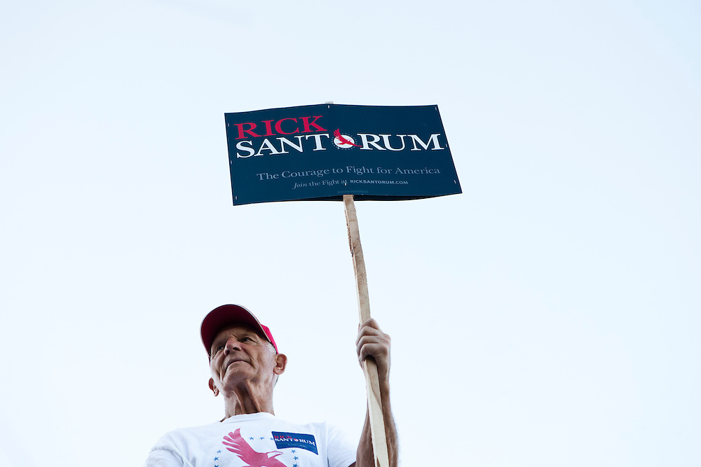A supporter of Republican presidential candidate Rick Santorum outside the Republican presidential debate on Thursday, August 11, 2011 in Ames, IA.